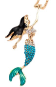 7.6cm MERMAID Necklace is Embellished with Turquoise Fade Crystal Rhinestones.Gold over Metal Alloy 70cm Chain.Perfect Gift for a Mermaid Want To Be!