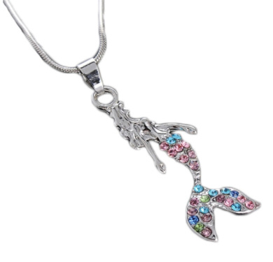 MERMAID 46cm Necklace is Embellished with Pink,Green & Blue Crystal Rhinestones.Silver Plated with 5.1cm Extender.Perfect Gift for Your Mermaid Want To Be