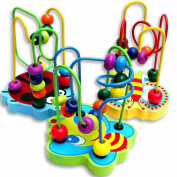 Luversco Kids Baby Colourful Wooden Mini Around Beads Educational Game Toy