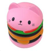 SMALLE Kawaii Squishy Slow Rising Cartoon Cat Hamburger Toy,Fun Reliever Stress Toy 9.5cm x 8.5cm