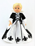 Black and White French Queen Fleur de Lis Dress-Fits 46cm American Girl Dolls, Madame Alexander, Our Generation, etc. | 46cm Doll Clothes
