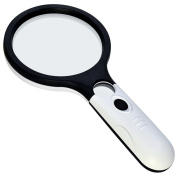 4 LED Magnifier Glass, Marrywindix 4X 30X Handheld Magnifier 12cm Large Magnifying Glass for Reading Magnifying Jewellery Appreciating White Mixed Black
