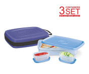 Lunch Box - Milton Slim Flat Lunch Box Bag Kit for Adults Bento Style - 1 Big & 2 Inner Containers Airtight, Leakproof; Hard Shell Sleeve Case with Handle Strap - Fits In Your Bag - Blue