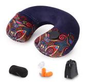 Lulutus Air Travel Neck Pillows Aeroplanes Inflatable Memory Foam Neck Pillow,Retro