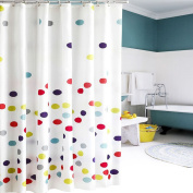 Fun Kids Shower Curtain | Simple and Colourful 180cm x 180cm Polka Dot Design Bath Curtain For Children with Durable Premium Polyester Material to Keep Floors Dry During Bath Time | Free 12 Hooks