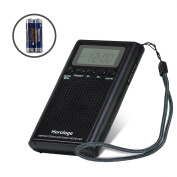 AM FM Pocket Radio,Portable Digital Radio Alarm Clock with 3.5mm Earphone Jack and Supporting Stereo Mode for Bedroom,Outdoor