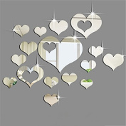 Ikevan 1Set 15pcs 3D Acrylic Heart-shaped Mirror Wall Stickers Plastic Removable Heart Art Decor Wall Poster Living Room Home Decoration,Multi-size,Silver