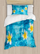 Hawaiian Decorations Duvet Cover Set by Ambesonne, Tropical Frangipani Flower Floating in Water Pool Summertime Ecofriendly Lifestyles, 2 Piece Bedding Set with 1 Pillow Sham, Twin / Twin XL Size