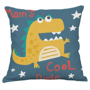 YeeJu Dinosaur Cotton Linen Throw Pillow Covers Decorative Square Cushion Cover Cartoon Sofa Home Pillow Cases 46cm x 46cm