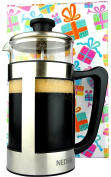 NEDER French Press Coffee, Tea & Espresso Maker, Comfortable Handle, Easy Clean, Stainless Steel Coffee Press. 8 Cups, 1010ml
