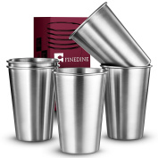 FineDine Premium Grade Stainless Steel Pint Cups Water Tumblers (5 Piece) Unbreakable, Stackable, Brushed Metal Drinking Glasses, Chilling Beer Glasses, for Travel, Outdoor, Camping, & Everyday, 500ml