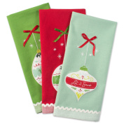 DII Cotton Christmas Holiday Dish Towels, 46cm x 70cm Set of 3, Decorative Oversized Embellished Kitchen Towels, Perfect Home and Kitchen Gift-Holiday Ornaments