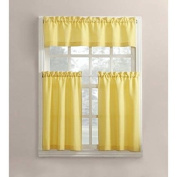 Mainstays Solid 3-Piece Tier and Valance Kitchen Curtain Set