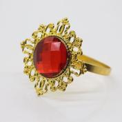 AngHui ShiPin 10pcs Red Diamond Gem Napkin Ring Serviette Holder Wedding Party Dinner Table Decoration Favour