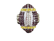 Sports Novelties Team Coloured Football Shaped Rhinestone Bling Ring with Stretchy Band