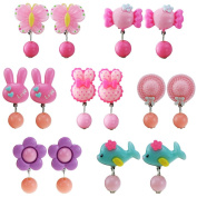 Sc0nni 7pc Little Girl Clip-on Earrings, Lovely Jewellery Set, Value Birthday Gift, Pretend Play Princess, Party Favour
