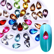 BONNIESTORE 5mmX8mm Colourful Crystal Nail Rhinestone Water Drop Flat Bottom Manicure Nail Art 3D Decoration in Wheel for Nails Arts Crafts Cellphones