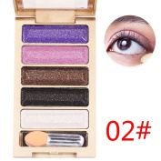 Allrise 5 Colours Diamond Bright Colourful Makeup Eye Shadow Set Flash Glitter Eyeshadow Palette with Brush