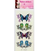 Nail Art Sticker,Putars Sexy Waterproof Temporary Tattoos 3D Butterfly Flower Fake Tattoos Sticker