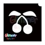 Glimmer Body Art Glitter Tattoo Stencils - Cherries 5/pack