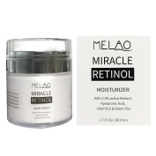 Retinol Moisturiser Cream for Face and Eye Area - With 2.5% Active Retinol, Hyaluronic Acid, Vitamin E. Anti Ageing Formula Reduces Wrinkles, Fine Lines. Best Day and Night Cream 50ml
