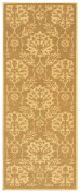 70cm X 1.8m Non-Skid Rubber Backed Runner Rug | BEIGE - GOLD FLORAL Modern Carpet Runner 2X6