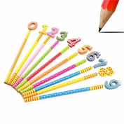 CoCocina 10pcs HX-1286v Wooden Cute Cartoon Pattern Pencil Stationery Gifts for Children