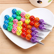 CoCocina 5pcs Smile Face Pencils For Children Round Ball Shape Cute Pencil Study stationery