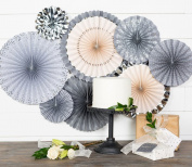 Paper Love Grey Glam Wedding Party Fans
