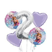 Frozen Balloon Bouquet 2nd Birthday 5 pcs - Party Supplies