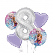 Frozen Balloon Bouquet 8th Birthday 5 pcs - Party Supplies