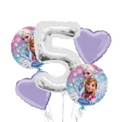 Frozen Balloon Bouquet 5th Birthday 5 pcs - Party Supplies