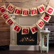 YRD TECH Hessian Burlap Merry Christmas Bunting Sign Rustic Wedding Party Banner