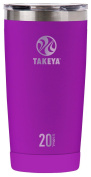 Takeya Actives Insulated Stainless Tumbler with Flip Lid, 590ml, Violet