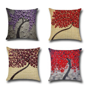 BPFY Oil Painting Trees and Flower Pillow Covers 46cm x 46cm Cotton Linen Sofa Home Decor Throw Pillow Case Cushion Covers Set of 4