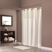 On Hookless Shower Curtain Hookless Polyester 180cm x 190cm Shower Curtain with Light-Filtering Mesh Screen and Magnets Anti mildew Premium ABS Flex-On Rings | White