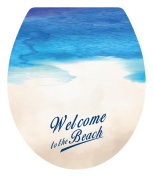 DNVEN (33cm w X 38cm h) Welcome to the Beach Sea Beach Seaside Bathroom Toilet Seat Lid Cover Decals Stickers
