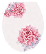 DNVEN (33cm w X 38cm h) Pink Bloosm Peony Floral Flowers Bathroom Toilet Seat Lid Cover Decals Stickers