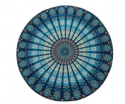 Resulzon Indian Mandala Hawaii Sunproof Round Beach Throw Tapestry Hippy Boho Gypsy Tablecloth Beach Shawl 150cm - Navy Blue