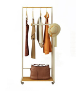 ZEMIN Floor Standing Coat Rack Clothes Hat Stand Hanger Shelf Iron Wheels 1 Layer 4 Poles 2 Hooks, 2 Colours Available, 60*37.5*146CM