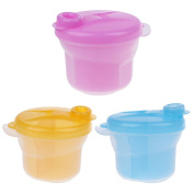 Sharplace BPA Free Powder Formula and Snack Cup Dispenser Portable Travel Container Bottle - Yellow ,Rose and Blue, as described