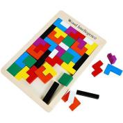 Goolsky 40Pcs Colourful Wooden Tangram Jigsaw Brain Tetris Block Intelligence Puzzle Russian Block Intellectual Toy for Kids