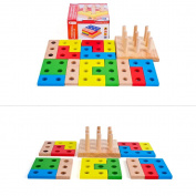 Goolsky Wooden Geometric Intelligence Board with 9 Column Geometric Sorting Block Column Building Blocks Wooden Educational toy