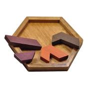 Goolsky 3Pcs Wooden Tangram Jigsaw Puzzle Set Brain Teaser Puzzle Wood Educational Scrabble Wood Blanks Toys for Kids
