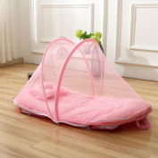 RuiHome Pop Up Toddler Mosquito Net Tent with Mattress Pillow for Indoor Outdoor Crib Bed Playpen fits 0-15 months Baby, Pink