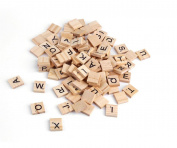 100PCS Wooden Alphabet Tiles Black Letters Number For Scrabble Children Toy