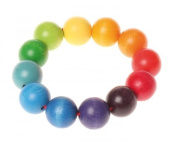 Grimm's Wooden Rainbow Beads Ring Grasper - Baby Teething & Grasping Toy from Germany