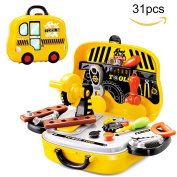 Toy Tool Set for Toddler, Pretend Play Toys Tool Kits for Children 3+, with Toy Car Carrying Tool Box,31pcs
