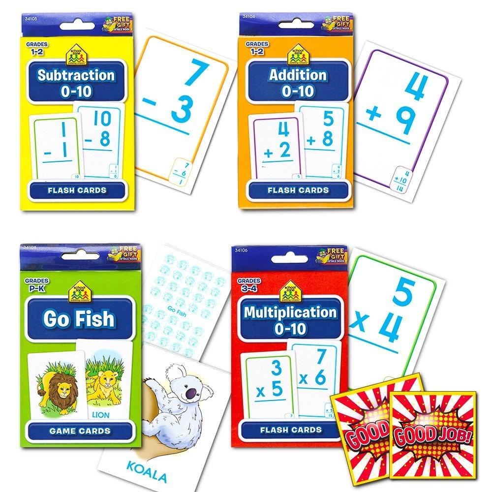 School Zone Flash Cards Math Set Kids 4 Packs Addition