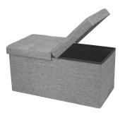 Otto & Ben 80cm SMART LIFT TOP Ottoman Bench - Light Grey / Folding Storage Ottoman / Stool / Linen Fabric